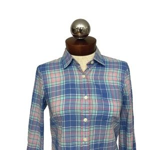 J. Crew perfect Classic Button Down Plaid Shirt xs